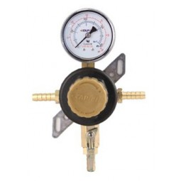 "Secondary beer regulator, 1P1P, 5/16"" barb In/thru, 5/16"" barb shut‐off, 60 lb gauge"