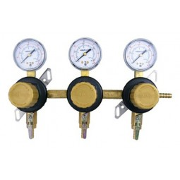 """CO2 gas board, 3 distribution regs, 3/8"""" barbed ball valve, 6' cylinder lead"""