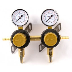 "Secondary beer regulator, 2P2P, 5/16"" barb In/thru, 5/16"" barb shut‐offs, 60 lb gauges"