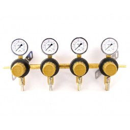 "Secondary beer regulator, 4P4P, 5/16"" barb In/thru, 5/16"" barb shut‐off, 60 lb gauges"