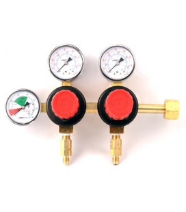 "Primary soda regulator, 2P2P, CGA320 inlet, 1/4"" flare outlets w/check, 160 lb and 2000 lb gauges"