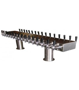 """Big Brute double-sided pass-thru tower 40 faucets (20 ea side) with four 4"""" pedestals SS glycol cooled"""