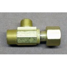 Brass tee, 3/8 female swivel x 1/4 compression x 3/8 compression