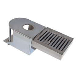Clamp-on chrome plated tower bracket with drip tray 1 hole