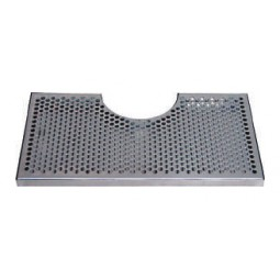 "Surface mount drip tray with cutout with drain 8"" x 3/4"" x 14"""
