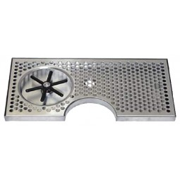 "Surface mount drip tray with cutout and side rinser 7-1/2"" x 7/8"" x 15"""
