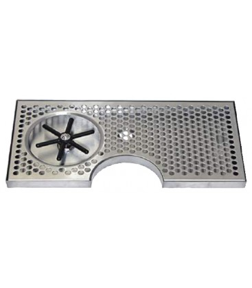 """Surface mount drip tray with cutout and side rinser 7-1/2"""" x 7/8"""" x 15"""""""