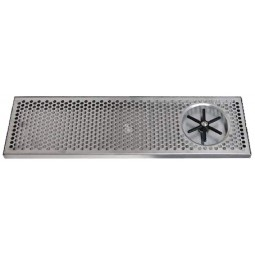 "Surface mount drip tray with side rinser 7"" x 7/8"" x 39"""
