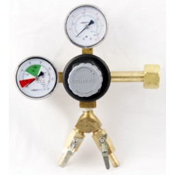"Primary beer regulator 1P2P CGA320 inlet 5/16""(2) barb shut‐off w/check 60 lb and 2000 lb gauges"