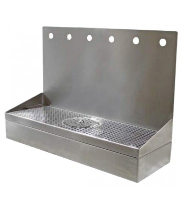 "Wall mount drip tray growler filler with rinser, SS, 7 holes, 8""D x 22""H x 42""L"