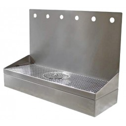 "Wall mount drip tray with rinser, SS, 8 holes, 8""D x 14""H x 32""L"