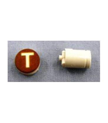 Button cap T white lettering brown cap