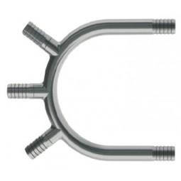 U-bend (2) 1/2 barb manifold (2) 1/4 barb ports SS