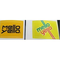 LEV label, Mello Yellow, front & back