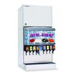 "Hoshizaki water cooled ice machine 30"" modular crescent cuber mounts on dispenser 540 lbs ice/day"