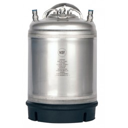 2.5 gallon ball lock keg, food grade 304 stainless steel, rubber boot bottom