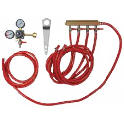 Tapping kit for keg cooler, 4 tap CO2 kit