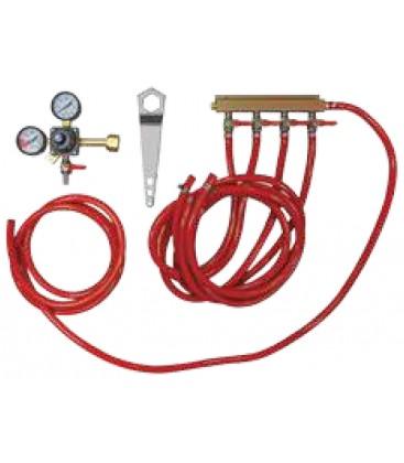 Tapping kit for keg cooler, 4 tap CO2 kit