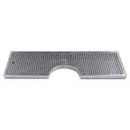 "Surface mount drip tray with cutout with drain 8"" x 7/8"" x 24"""