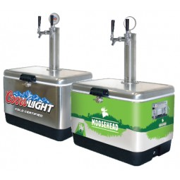 Custom branded SS picnic cooler with double tap tower