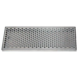 "Stainless steel drip tray with SS insert with drain 5-3/8"" x 3/4"" x 10-3/8"""