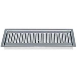 """Flush mount drip tray 12"""" x 5"""" brushed stainless finish drain"""
