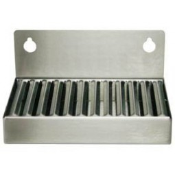 "Wall mount drip tray 4"" x 6"" stainless finish 2"" splash no drain"