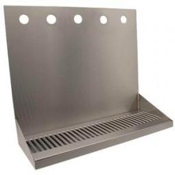 "Wall mount drip tray 30"" x 6.5"" stainless finish 14"" tall back splash"