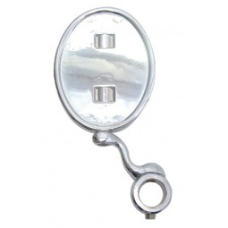 Chrome oval vertical medallion holder with angled support