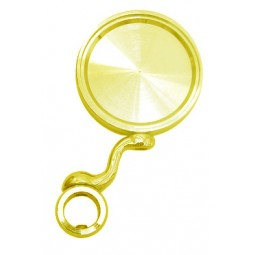 Gold round medallion holder with angled support