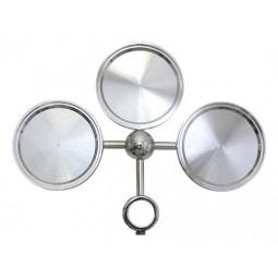 Chrome nickel 3 way round medallion holder assembly