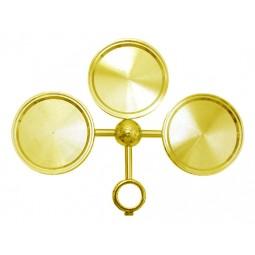 Gold nickel 3 way round medallion holder assembly