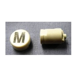 Button cap M black lettering white cap