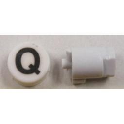 Button cap Q black lettering white cap
