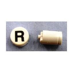 Button cap R black lettering white cap