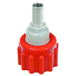 BIB connector, SS 3/8 barb, red