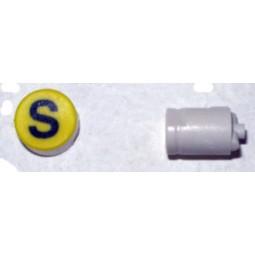 Button cap S black lettering yellow cap