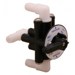 "Sanitizing valve, 3-way for brix pump, 3/8"" barb elbow fittings"