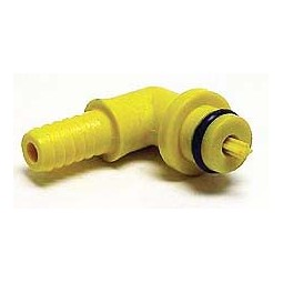 "SHURflo 1/4"" yellow plastic barb elbow with check valve for CO2 inlet"