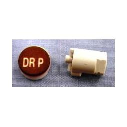 Button cap DR P white lettering brown cap