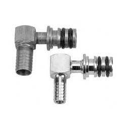 "Shurlock quick-connect, stainless steel elbow fitting with 3/8"" barb"