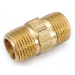 Brass hex nipple 1/4 MPT x 1/4 MPT