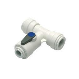Acetal tee valve tube 15mm OD x 1/4 tube OD branch