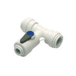 Acetal tee valve tube 15mm OD x 3/8 tube OD branch