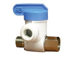 Polypropylene angle stop adapter valve, 3/8 x 3/8 x 3/8