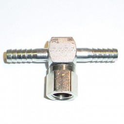 Tee (2) 1/4 barb x 1/4 swivel nut side SS