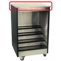 "Stainless top for 42W x 24""D bar glass storage unit"