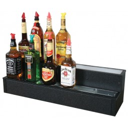 "Lighted liquor display 2 tier left side cord 60L x 8D x 8""H"