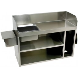 "Underbar SS wait station w bowl and plastic washrag basin 36""W x 15""D"