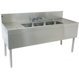 "Underbar SS 4 compartment left sink 66""W x 19""D"